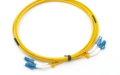 LC UPC Duplex Singlemode 9/125 right angle Fiber Optic Patch Cord